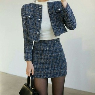 How to Wear a Blue Tweed Mini Skirt: A navy tweed jacket and a blue tweed mini skirt are essential in a versatile casual closet.