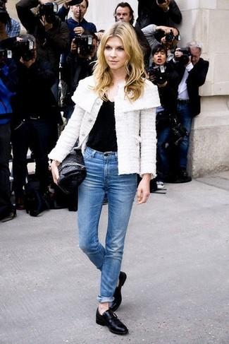 Women's White Tweed Jacket, Black V-neck T-shirt, Blue Jeans, Black Leather Loafers