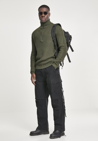 Buster Solid Shaker Stitch Mock Neck Sweater