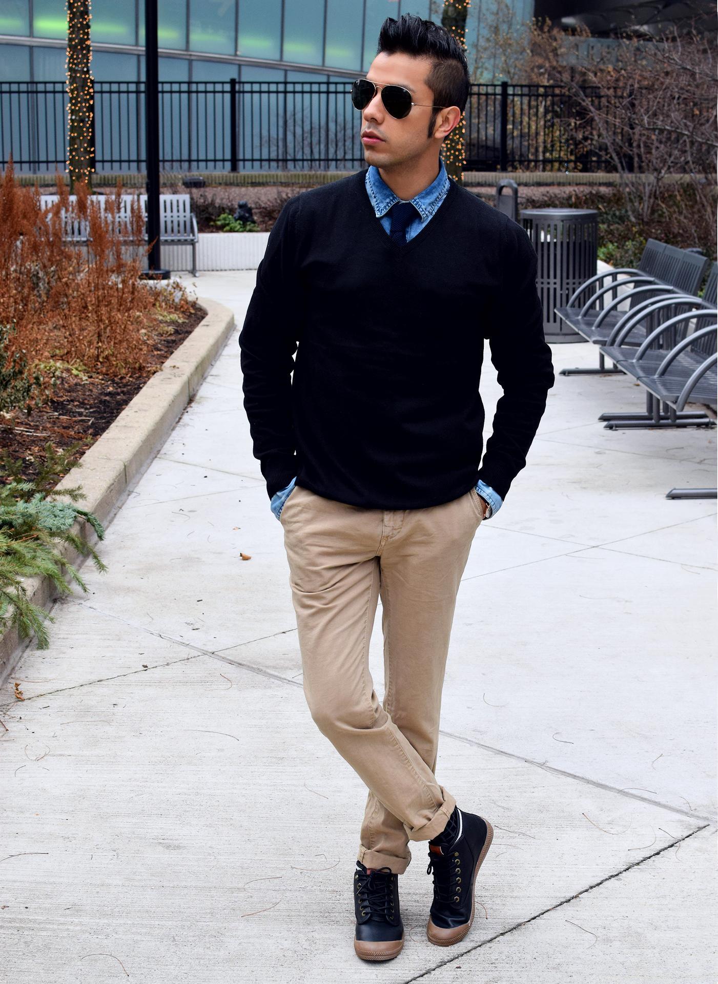 Men's Black V-neck Sweater, Blue Denim Shirt, Khaki Chinos, Black ...