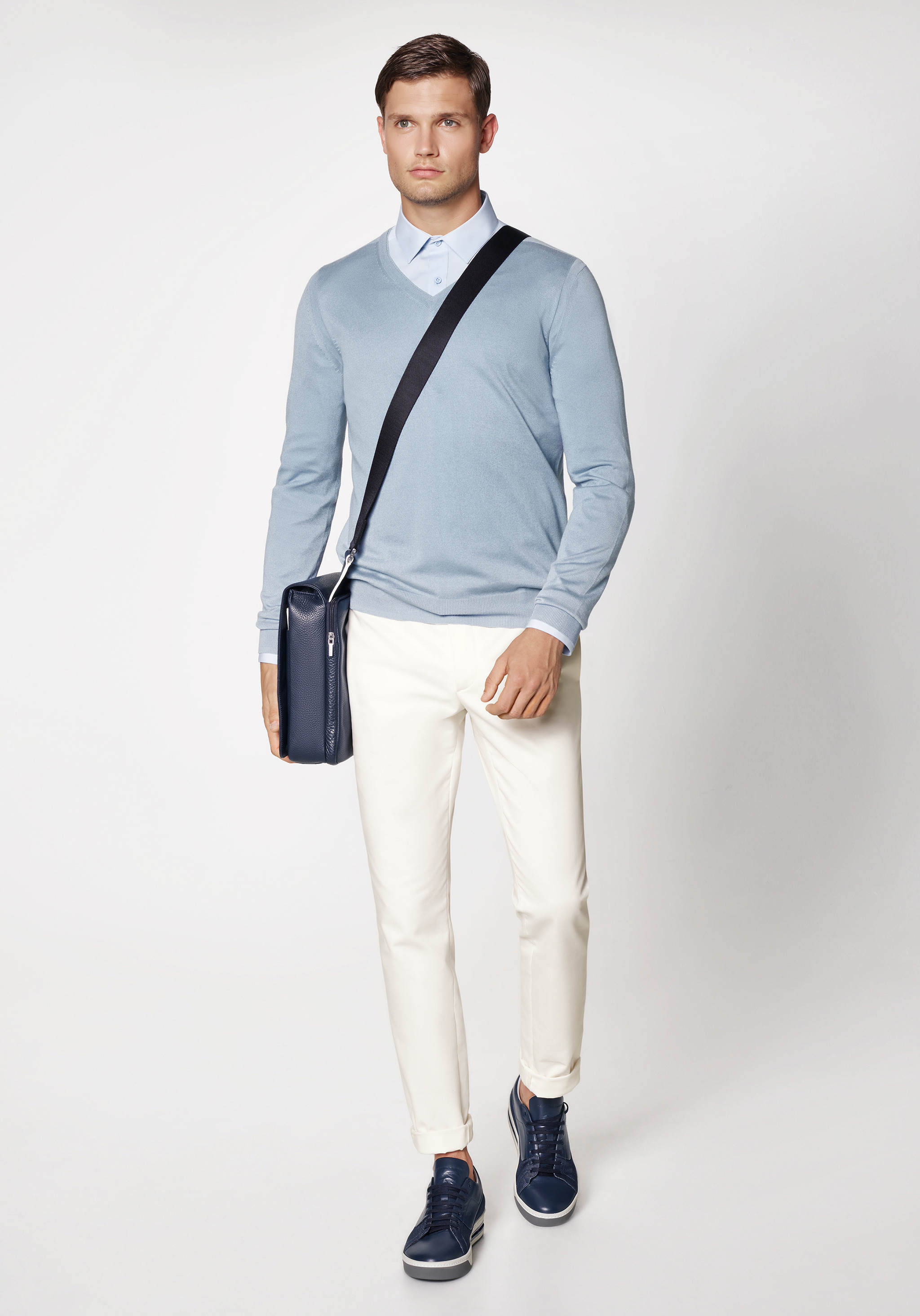 How to Wear a Light Blue V-neck Sweater (6 looks) | Men's Fashion