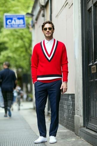 How to wear: red v-neck sweater, white dress shirt, navy dress pants, white plimsolls