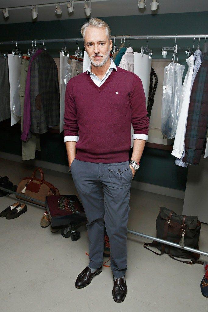 Grey pants and maroon shirt