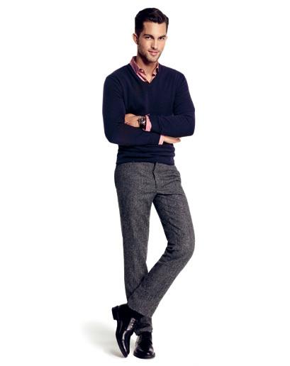 Men S Navy V Neck Sweater Pink Long Sleeve Shirt Grey Wool Dress Pants Black Leather Oxford Shoes Fashion