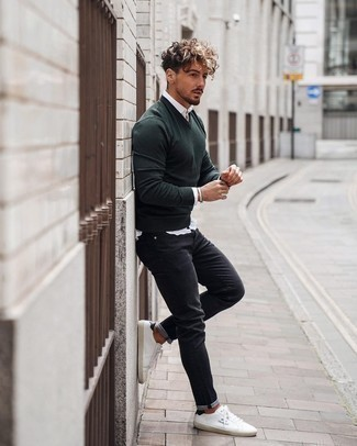 Black Jeans with White Long Sleeve Shirt Outfits For Men: This combo of a white long sleeve shirt and black jeans is a nice menswear style for when it's time to clock off. A pair of white and black leather low top sneakers is a savvy option to complete this outfit.