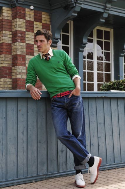 Men's Green V-neck Sweater, Beige Long Sleeve Shirt, Blue Jeans ...