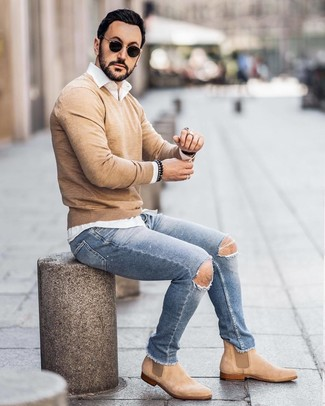 How To Wear Light Blue Ripped Skinny Jeans With Tan Suede