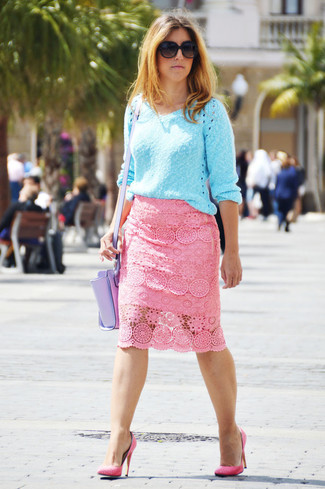 How to Wear a Pink Pencil Skirt: A light blue v-neck sweater and a pink pencil skirt are totally worth adding to your list of true casual must-haves. If you want to break out of the mold a little, complete your outfit with a pair of hot pink leather pumps.