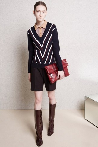 How to wear: navy chevron v-neck sweater, tan polo, burgundy wool shorts, burgundy leather knee high boots