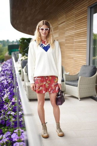 How to wear: white and blue v-neck sweater, red print shirtdress, tan leather knee high boots, dark purple leather handbag