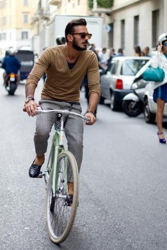 Men's Tan V-neck Sweater, Black Tank, Grey Plaid Dress Pants, Black Leather Loafers