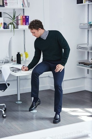 How to Wear a Grey Turtleneck For Men: Try teaming a grey turtleneck with navy chinos for an everyday outfit that's full of charm and personality. Put a different spin on your ensemble by sporting a pair of black leather loafers.