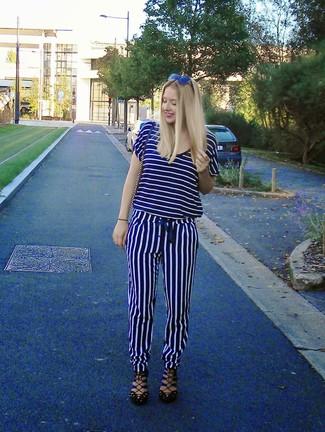 Women's Navy and White Horizontal Striped V-neck T-shirt, Navy and White Vertical Striped Pajama Pants, Black Leather Gladiator Sandals, Navy Leather Crossbody Bag