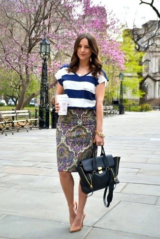 Women's Navy and White Horizontal Striped V-neck T-shirt, Violet Paisley Pencil Skirt, Tan Leather Pumps, Black Leather Satchel Bag