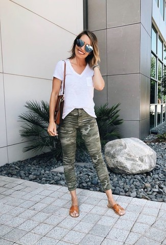 How to Wear Grey Sunglasses For Women: Try pairing a white v-neck t-shirt with grey sunglasses for an ensemble that's both off-duty and stylish. If not sure about the footwear, complement your look with tan leather flat sandals.