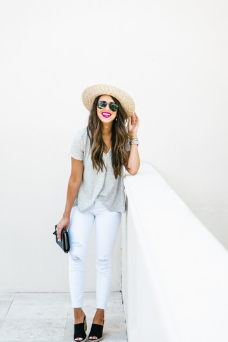 Women's Grey Horizontal Striped V-neck T-shirt, White Ripped Skinny Jeans, Black Suede Wedge Sandals, Black Leather Clutch