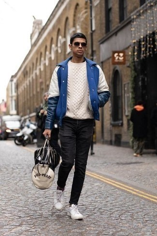 Cable Sweater Outfits For Men: To pull together a relaxed casual getup with a modernized spin, pair a cable sweater with black skinny jeans. Add a pair of white canvas low top sneakers to your look et voila, the ensemble is complete.