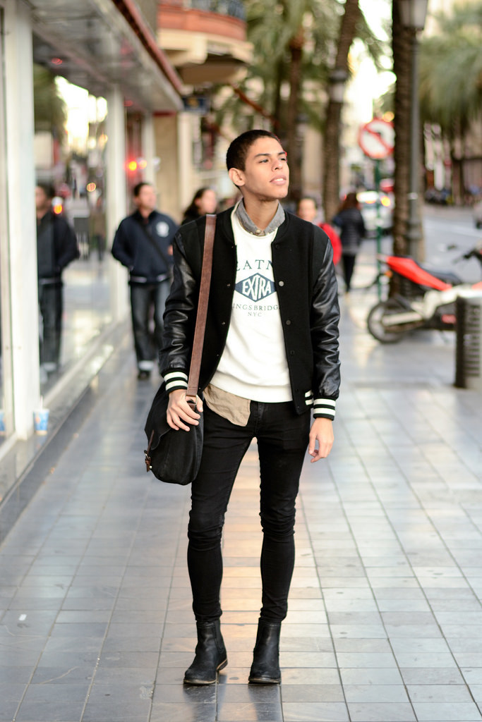 Varsity Jacket, Sweatshirt, Jeans and Boots