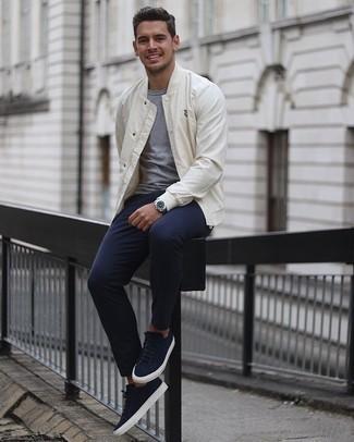 White Stripe Varsity Jacket