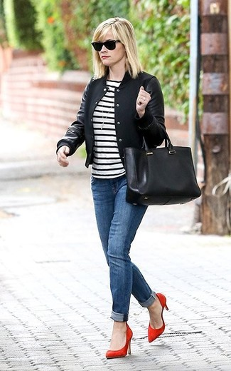 Reese Witherspoon wearing Black Varsity Jacket, White and Black Horizontal Striped Crew-neck T-shirt, Blue Jeans, Red Suede Pumps
