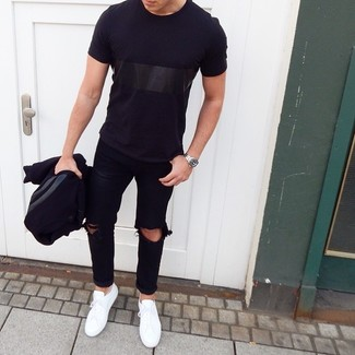 How to wear: black varsity jacket, black crew-neck t-shirt, black ripped jeans, white low top sneakers