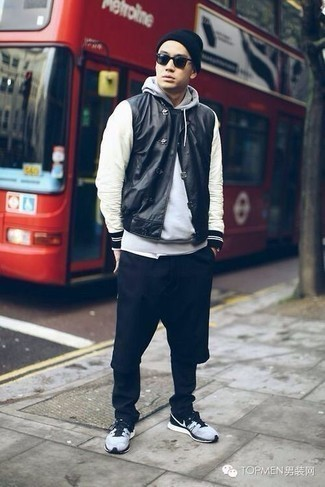 Grey Hoodie Outfits For Men: This ensemble with a grey hoodie and black chinos isn't a hard one to score and is easy to adapt. Put a relaxed spin on this ensemble by sporting a pair of grey athletic shoes.