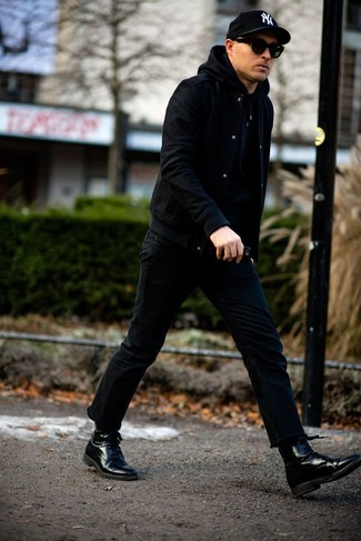 Black Jeans with Black Hoodie Outfits For Men: For an ensemble that's pared-down but can be flaunted in many different ways, reach for a black hoodie and black jeans. Complete this ensemble with a pair of black leather dress boots to instantly turn up the style factor of any ensemble.