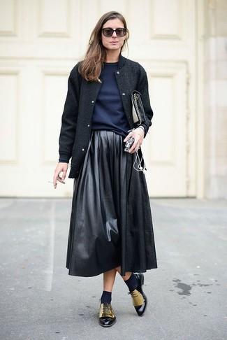 Metallic Leather Wing Tip Oxford