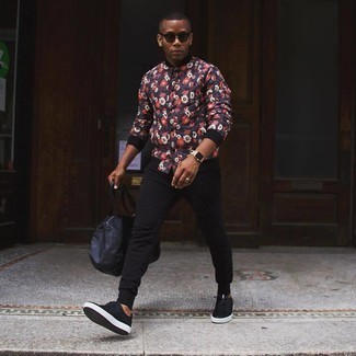 Charcoal Sunglasses Outfits For Men: Why not team a multi colored print varsity jacket with charcoal sunglasses? These two items are totally functional and will look nice when paired together. Break up this ensemble with a more refined kind of shoes, such as this pair of black leather low top sneakers.
