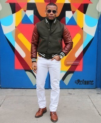 Tobacco Leather Belt Outfits For Men: To pull together a casual outfit with a modern take, opt for an olive varsity jacket and a tobacco leather belt. If you wish to effortlessly amp up your ensemble with shoes, add brown leather casual boots to the mix.