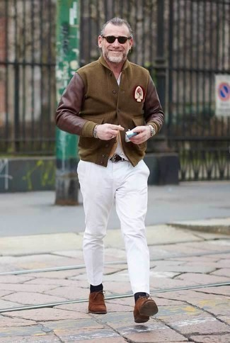 How to Wear Dark Brown Suede Oxford Shoes After 50: Pair a brown varsity jacket with white chinos to pull together a day-to-day outfit that's full of charm and character. Finishing with dark brown suede oxford shoes is a guaranteed way to give an extra dose of style to this outfit.