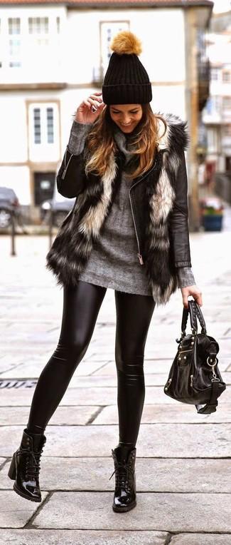 How to wear: grey fur vest, black leather biker jacket, grey cowl-neck sweater, black leather leggings