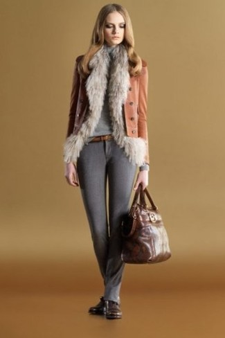 How to wear: grey fur vest, tobacco leather biker jacket, grey turtleneck, charcoal wool skinny pants