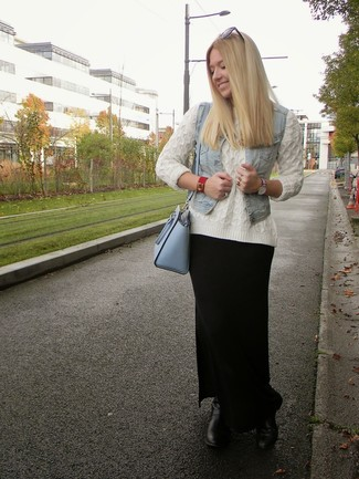 How to wear: light blue denim vest, white cable sweater, black maxi skirt, black leather lace-up flat boots
