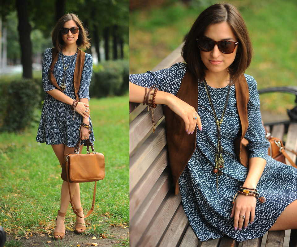 Women&-39-s Brown Suede Vest- Navy and White Print Casual Dress- Brown ...