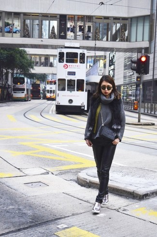 Charcoal Cowl-neck Sweater Outfits For Women: Combining a charcoal cowl-neck sweater with black leather skinny jeans is a wonderful idea for a laid-back and cool look. Take an otherwise mostly classic ensemble down a more informal path by rounding off with silver leather slip-on sneakers.