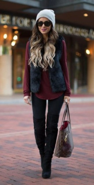 How to wear: black fur vest, burgundy crew-neck sweater, black leggings, black suede over the knee boots