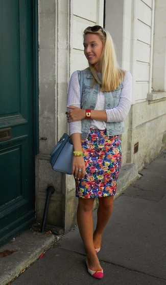 How to wear: light blue denim vest, white crew-neck sweater, blue floral pencil skirt, hot pink leather ballerina shoes