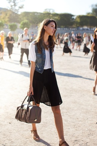 Go for a dark blue denim vest and a black pleated chiffon midi skirt to effortlessly deal with whatever this day throws at you. Brown suede wedge sandals are a great choice to complete the look.