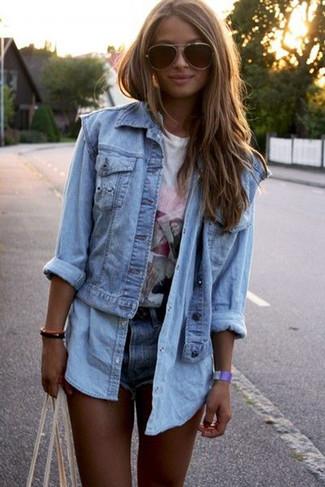 How to wear: light blue denim vest, light blue denim shirt, white print crew-neck t-shirt, blue denim shorts