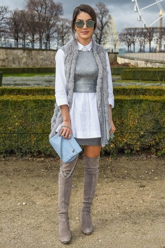How to wear: grey fur vest, white dress shirt, grey knit cropped top, grey mini skirt