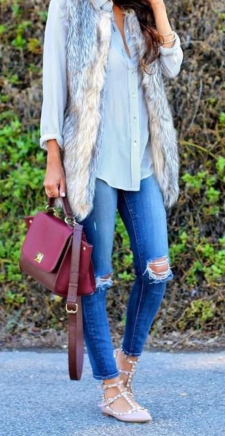 How to wear: beige fur vest, light blue dress shirt, blue ripped skinny jeans, pink leather ballerina shoes