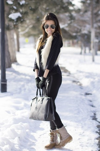 How to wear: white fur vest, black polka dot long sleeve blouse, black leather leggings, beige snow boots