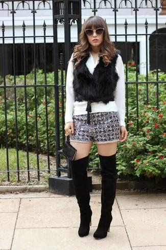 Women's Black Fur Vest, White Long Sleeve Blouse, Grey Print Sequin Shorts, Black Suede Over The Knee Boots