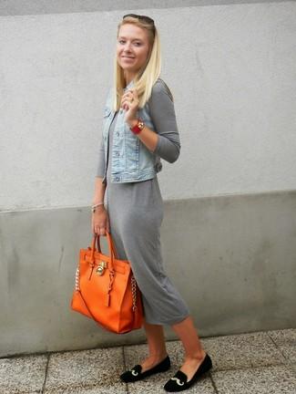 How to wear: light blue denim vest, grey maxi dress, black embroidered suede loafers, orange leather tote bag