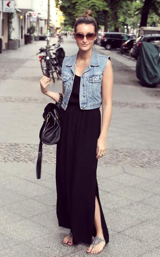 How to wear: light blue denim vest, black maxi dress, grey leopard thong sandals, black leather satchel bag