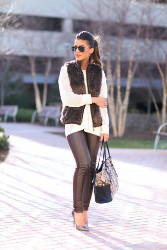 How to wear: black fur vest, white knit oversized sweater, black leather leggings, silver leather pumps