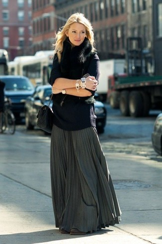 How to wear: black fur vest, navy oversized sweater, charcoal pleated maxi skirt, dark brown suede ankle boots
