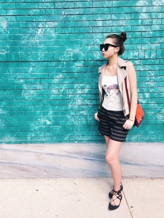 How to wear: beige leather vest, white print tank, navy horizontal striped shorts, black suede ballerina shoes