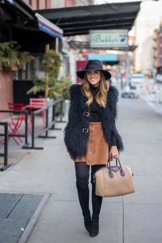 How to wear: black fur vest, black turtleneck, brown corduroy button skirt, black suede over the knee boots